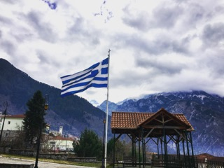 Greek flag at migrant camp